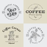 Set of Vector Vintage Coffee Logo and Illustration Drawing Engraving Icon 02. Used as Logo or Icon in premium quality stock illustration