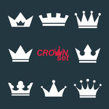 Set of vector vintage crowns, luxury ornate coronet illustration. Stock Photos