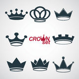 Set of vector vintage crowns, luxury ornate coronet illustration. Royalty Free Stock Image