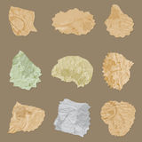 Set vector vintage crumpled dirty paper pieces with splats Royalty Free Stock Photos