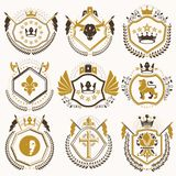 Set of vector vintage elements, heraldry labels stylized in retr Stock Photography