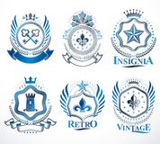 Set of vector vintage elements, heraldry labels stylized in retr Royalty Free Stock Photography