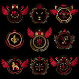 Set of vector vintage emblems created with decorative elements l Stock Images