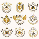 Set of vector vintage emblems created with decorative elements l Royalty Free Stock Photo