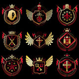 Set of vector vintage emblems created with decorative elements l Stock Photo