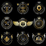 Set of vector vintage emblems created with decorative elements l Royalty Free Stock Photography