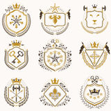Set of vector vintage emblems created with decorative elements l Stock Image