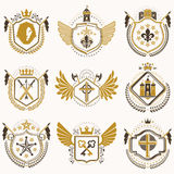 Set of vector vintage emblems created with decorative elements l Stock Photography