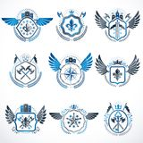 Set of vector vintage emblems created with decorative elements l Royalty Free Stock Images