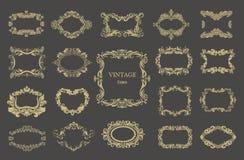 Set of vector vintage floral frames Royalty Free Stock Images