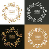 Set of vector vintage flourish frames. Ornamental background. Stock Image