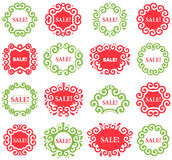 Set of vector Vintage Labels for Christmas Sales. Green and red frames on white vector illustration
