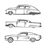 Set Vector Vintage Old Cars. Set vintage lowrider cars and elements design. Collection black and white classic and old retro car - Stock Vector Royalty Free Stock Image