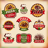 Set of vector vintage pizza labels Stock Image