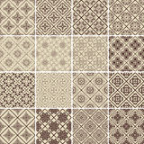Set of 16 vector vintage seamless patterns. Royalty Free Stock Photo