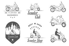 Set Vector Vintage Sign and Logos Scooter Royalty Free Stock Image