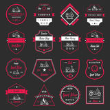 Set Vector Vintage Sign and Logos Scooter Royalty Free Stock Photography