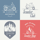 Set Vector Vintage Sign and Logos Scooter Royalty Free Stock Photos