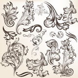 Set of vector vintage swirls for design Stock Photos