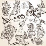 Set of vector vintage swirls for design Stock Photos