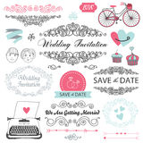 Set of vector vintage wedding invitation design Stock Photos