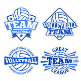 Set of vector volleyball badges, logo templates etc. Stock Image