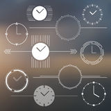 Set of vector watch design elements. Monochromatic Stock Image