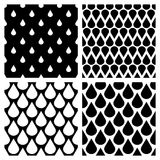 Set of vector water drops seamless patterns in black and white Stock Photos