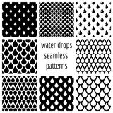 Set of vector water drops seamless patterns in black and white Royalty Free Stock Photos