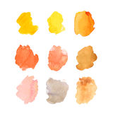 Set of vector watercolor brush strokes on white background Stock Photos