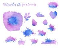 Set of vector watercolor design elements. Stock Photos