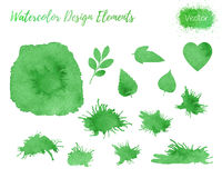 Set of vector watercolor design elements. Stock Images