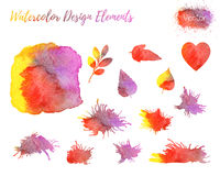 Set of vector watercolor design elements. Stock Photography