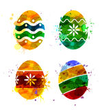 Set of vector watercolor Easter Eggs Royalty Free Stock Image