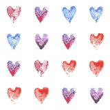 Set of vector watercolor hearts. Seamless pattern Royalty Free Stock Images