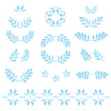 Set of vector watercolor leaves, badges, floral Stock Images