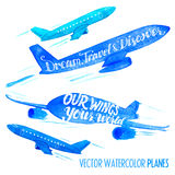 Set of vector watercolor planes Stock Image