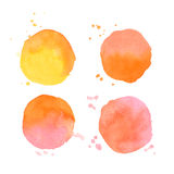 Set of vector watercolor splashes on white background Stock Image