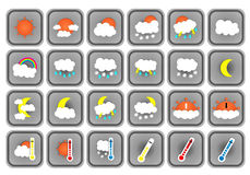 Set of 24 vector weather grey flat square icons on white background Stock Photo