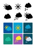 Set of vector weather icons Stock Photos
