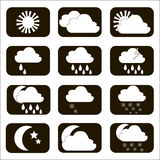 Set vector weather icons. The sun, cloud, moon, rain and snow. S Royalty Free Stock Photos