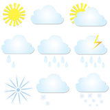 Set vector weather icons. The sun, cloud, rain and snow. Royalty Free Stock Images