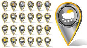Set of 24 vector weather realistic metallic chrome flat hashtag icons on white background Stock Photos