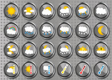 Set of 24 vector weather realistic metallic chrome flat round icons on modern metal background Royalty Free Stock Photography