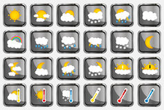 Set of 24 vector weather realistic metallic chrome flat square icons on white background Stock Photo