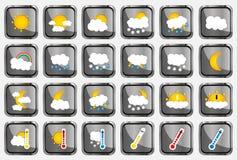 Set of 24 vector weather realistic metallic chrome flat square icons on white background Stock Photo