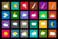 Set of 24 vector weather square colored window style flat icons on black background Royalty Free Stock Photo