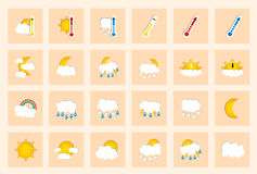 Set of 24 vector weather square colored window style flat icons on ivory background Stock Photos