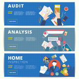 Set of vector web banners design for business or finance service. S. Financial analysis, audit or accounting, and home inspection and appraisal affairs Stock Photo
