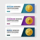 Set of vector web banners with a diagonal and with a gold coin crypto currency ripple, bitcoin and Ethereum. Set of vector horizontal web banners with a Stock Photos